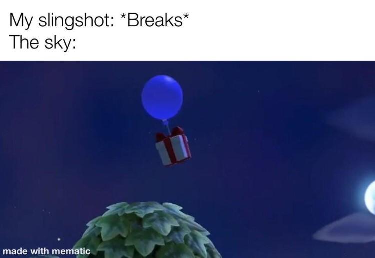 Slingshot present meme AC
