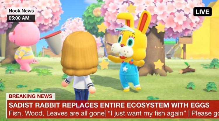 Sadist Rabbit yellow guy AC New Horizons meme