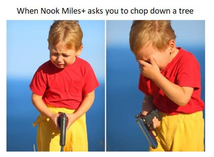 Nook Miles asks you to baby