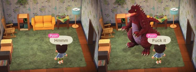 Dinosaur godzilla in house Animal Crossing