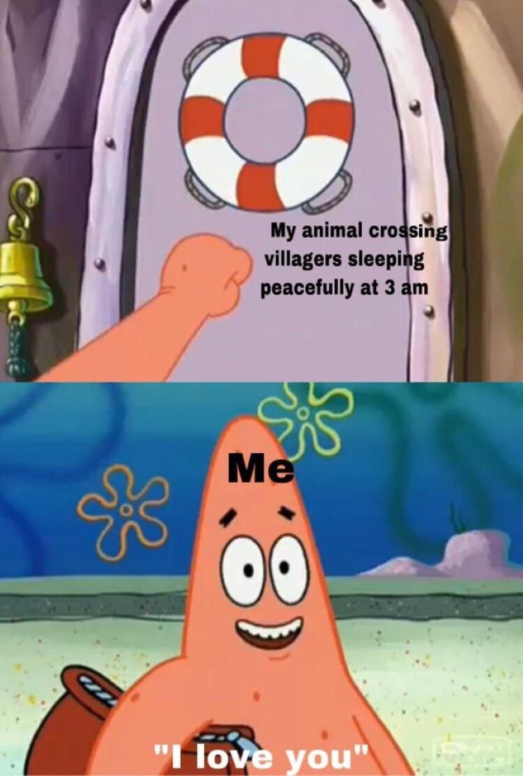 Waking up villagers SpongeBob Patrick crossover