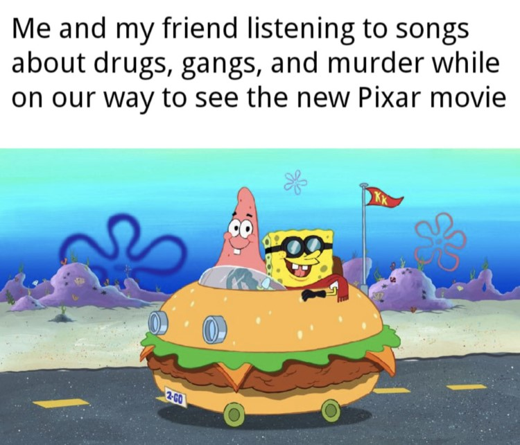 SpongeBob and patrick in patty wagon meme