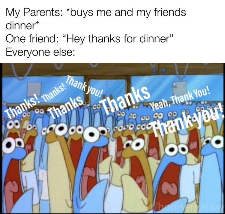 Spongebob thanks for dinner