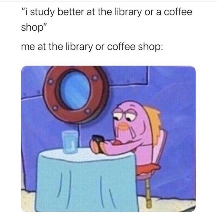 Studying at library SpongeBob meme