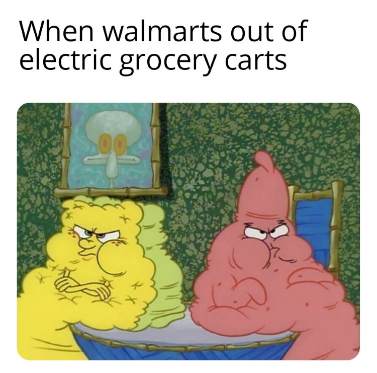 SpongeBob and Patrick need grocery scooters