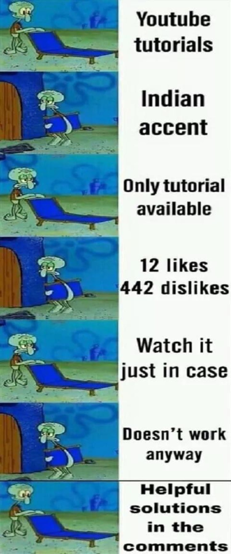 YouTube Squidward meme searching for good tutorial