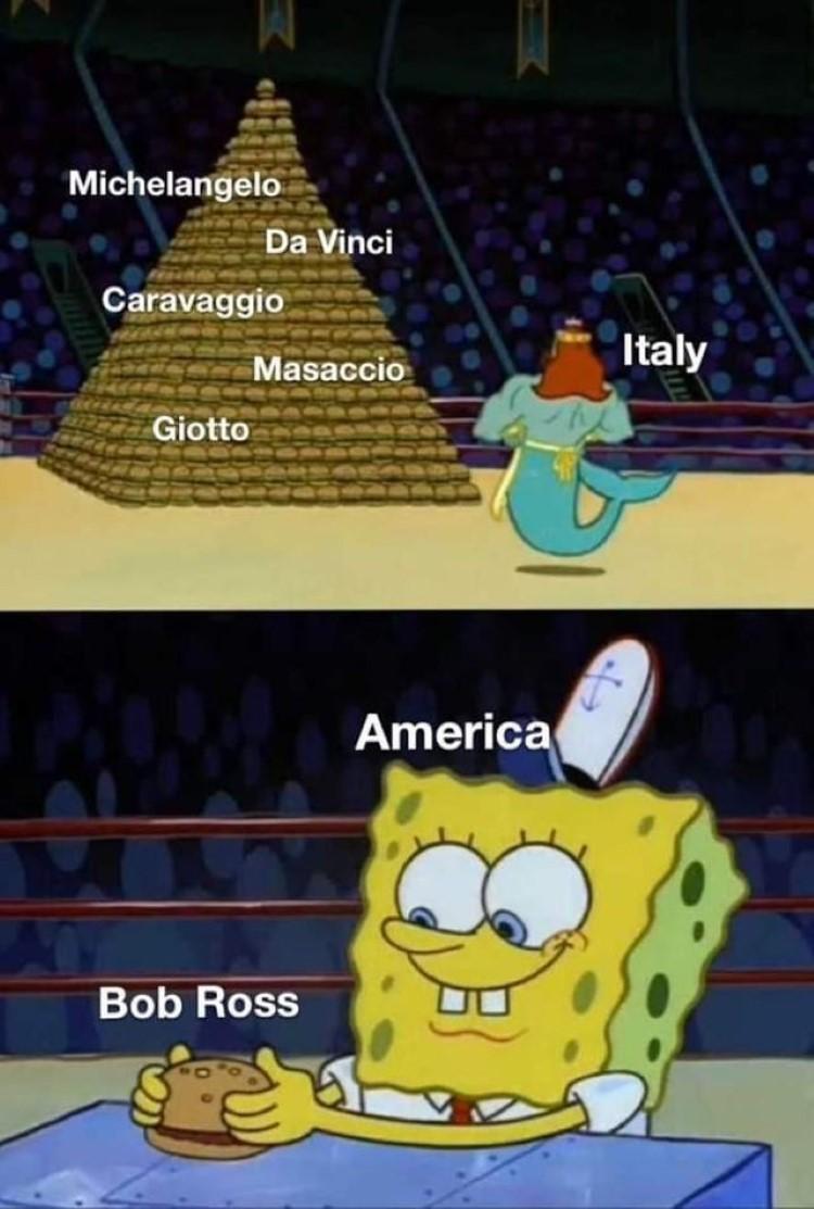 Bob ross meme SpongeBob