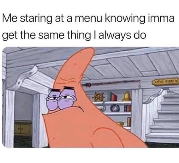 Patrick staring meme