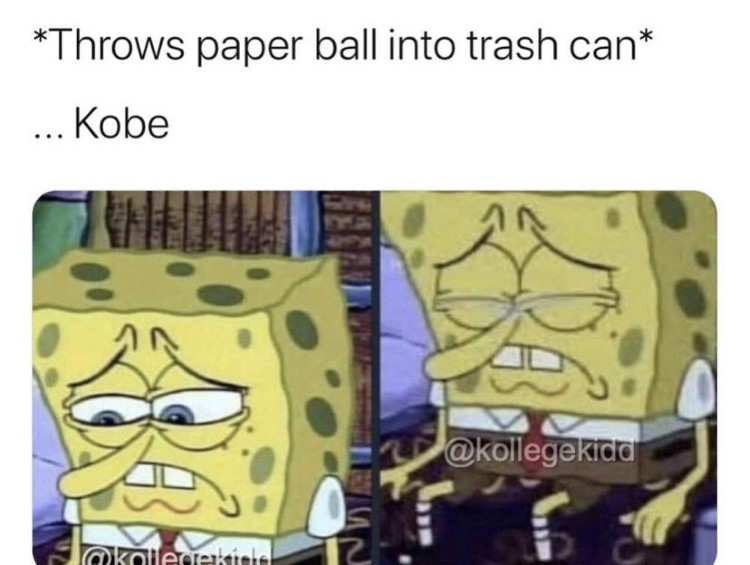 Throwing ball into trash can Kobe meme