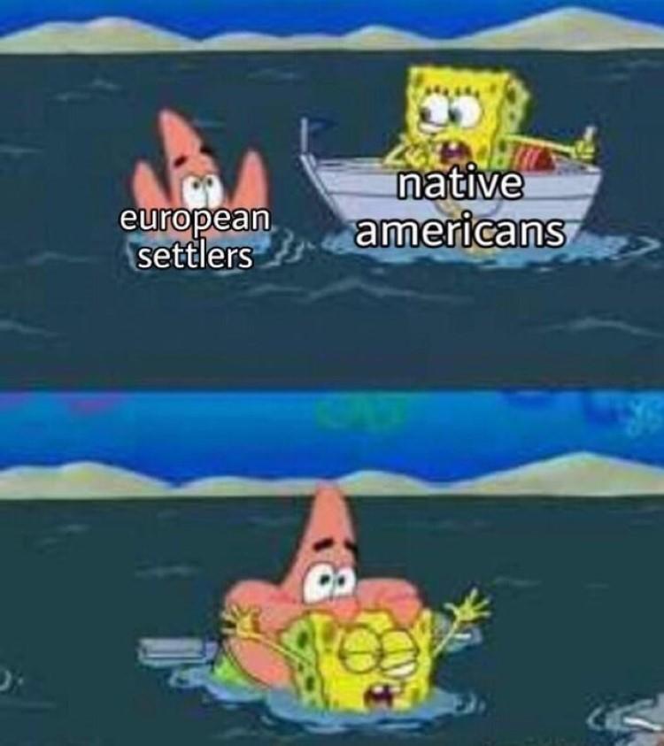 Settlers in America SpongeBob meme