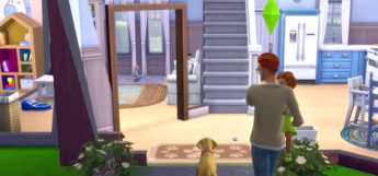 Sims 4 HD screenshot with dog and daughter