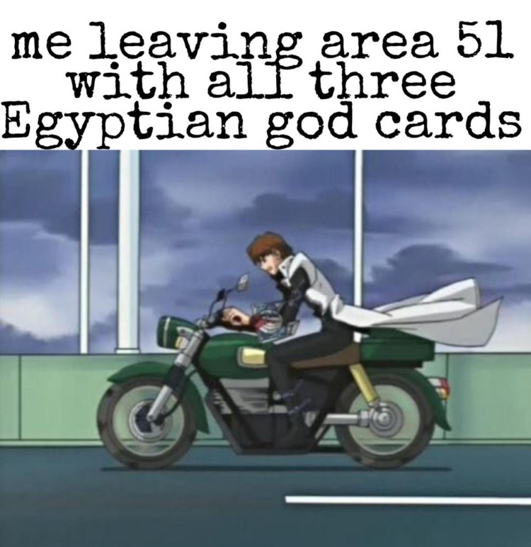 Kaiba on motorcycle meme