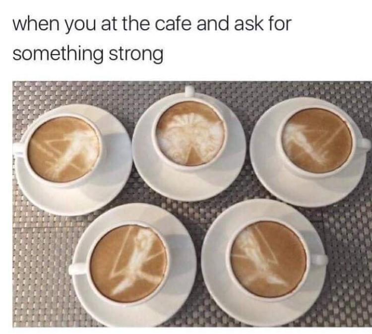 Exodia coffee art meme