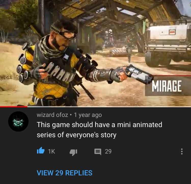 Youtube comments on Apex Legends