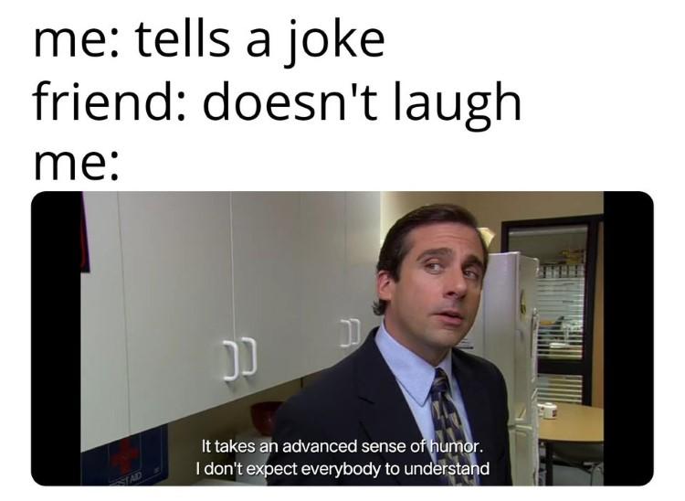 Telling an unfunny joke