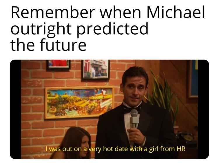 Michael predicts the future joke