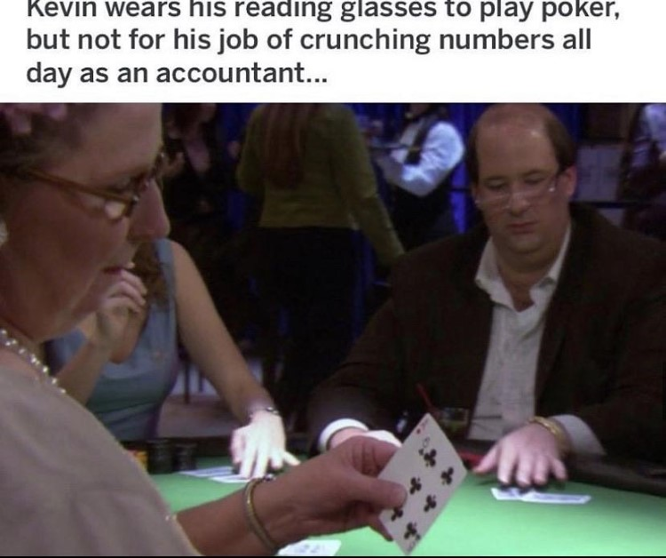 Kevin wears reading glasses during poker