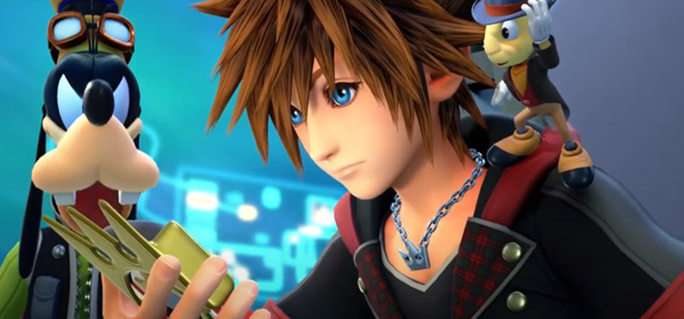 KH3 Sora, Jiminy and Goofy looking at Gummiphone