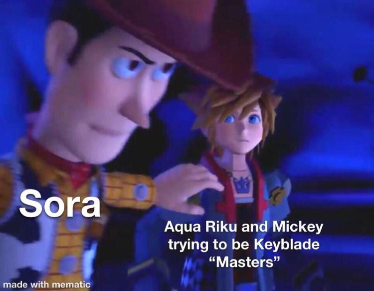 Sora and Rigu argue keyblade