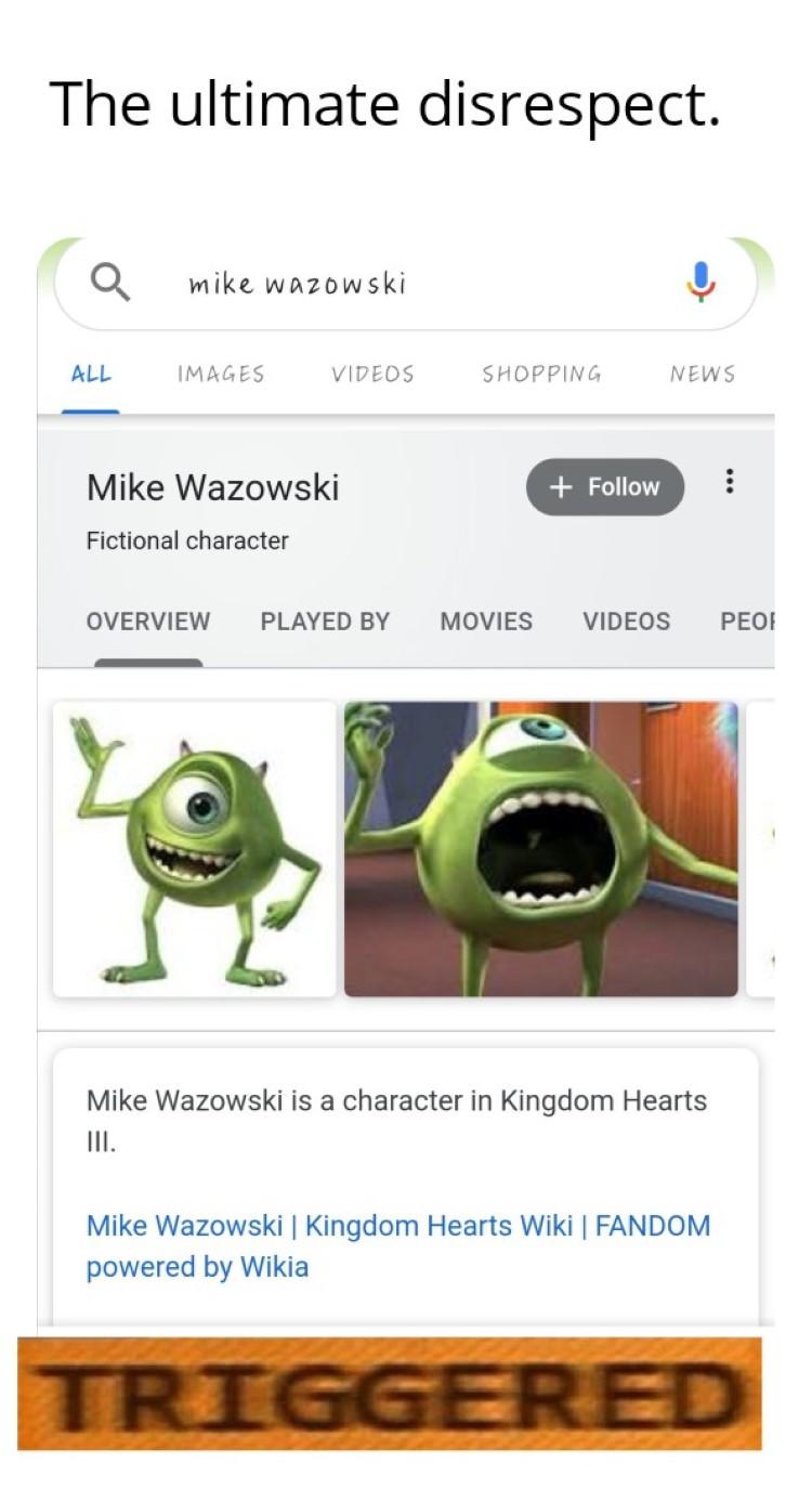 Mike Wazowski is KH character joke