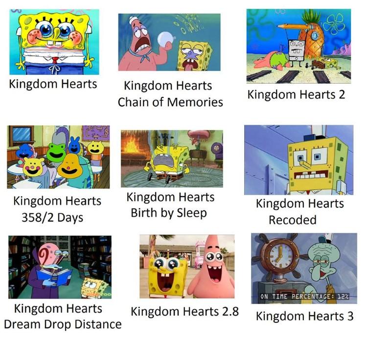 All KH games as SpongeBob memes