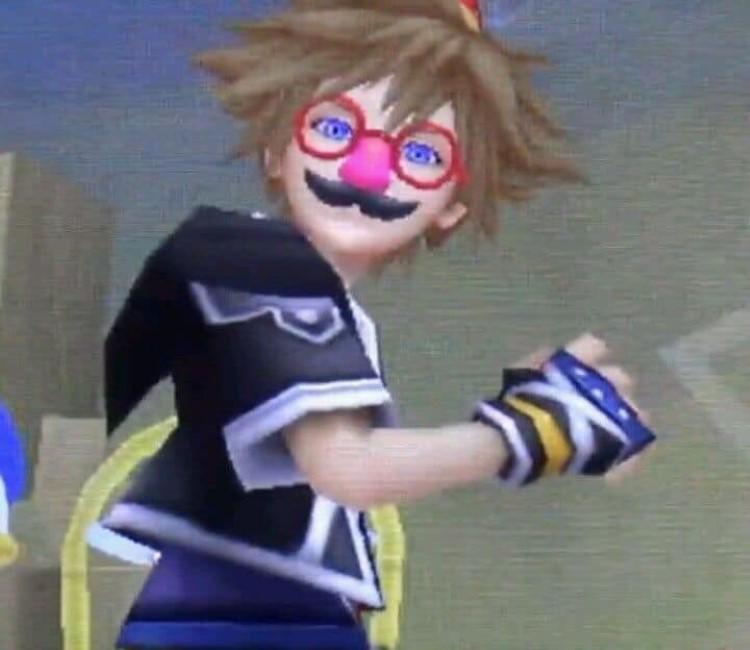Sora fake glasses fake mustache meme