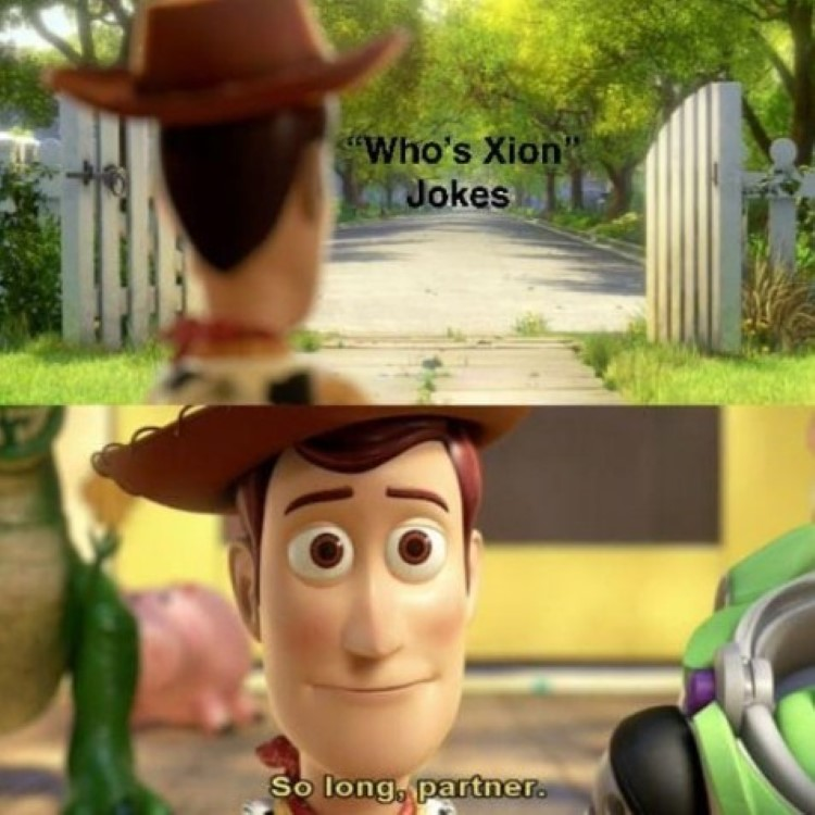 Woody waves goodbye to Xion jokes