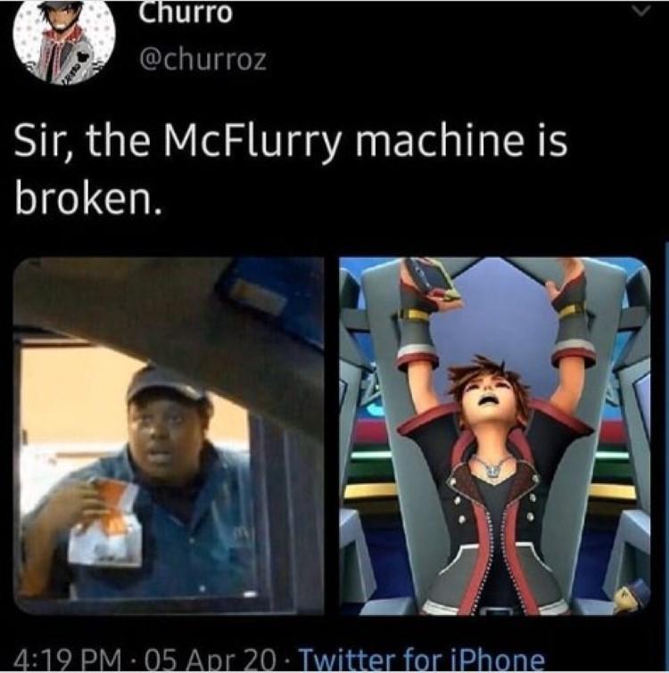 The mcflurry machine is broken sora
