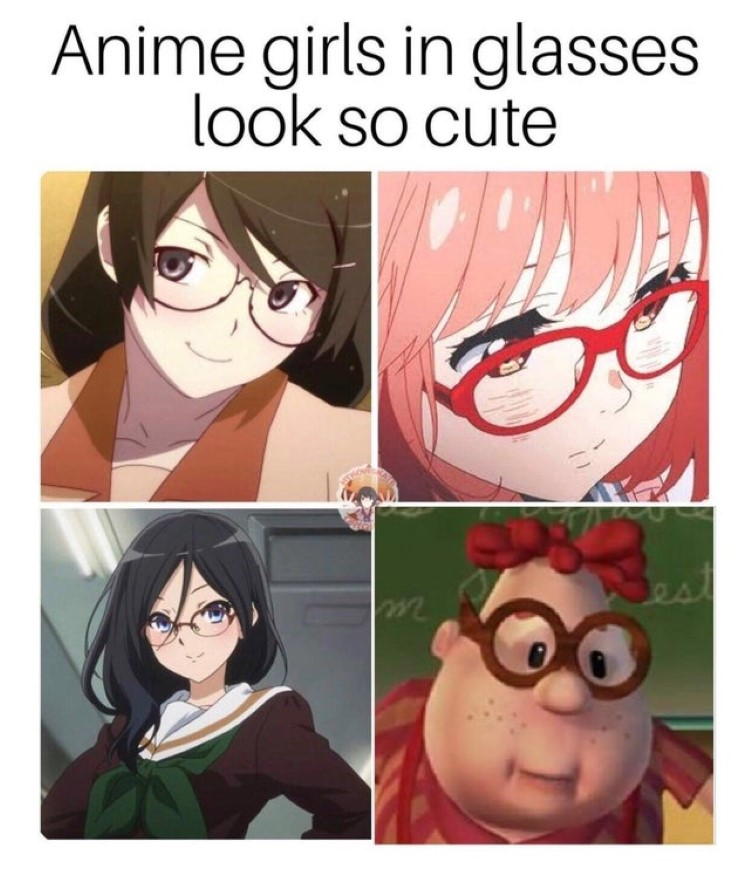 Anime girls in glasses, Carl Wheezer