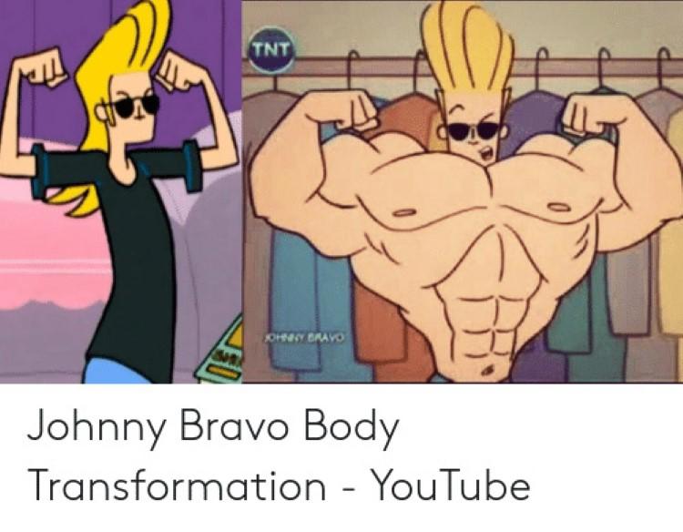 Johnny Bravo body transformation joke