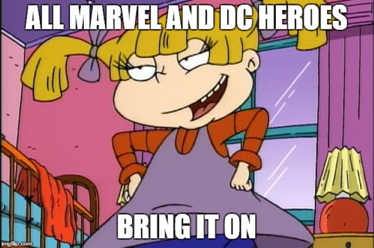 Marvel and DC superheroes vs Angelica