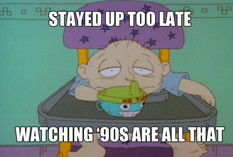 Tommy Pickles sleepy, stayed up too late watching 90s Nickelodeon