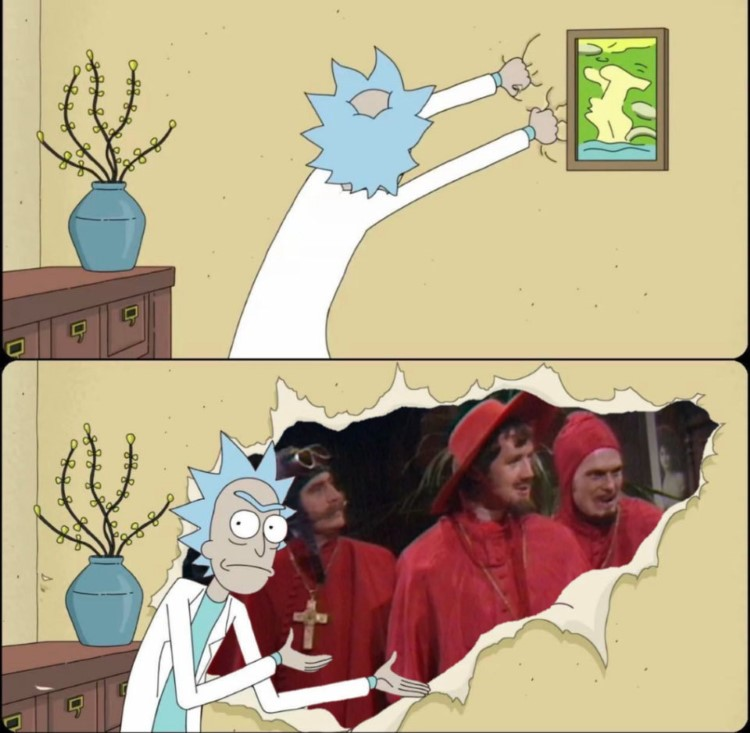 Never expect the Spanish Inquisition Rick Morty crossover