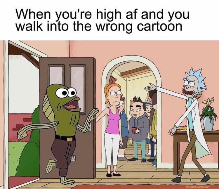 Fred walks into Rick Morty SpongeBob crossover