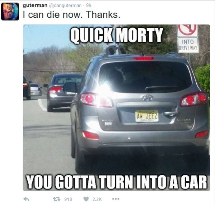 Quick Morty turn into a car meme