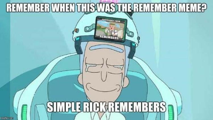 Simple rick remembers pepperidge farms meme