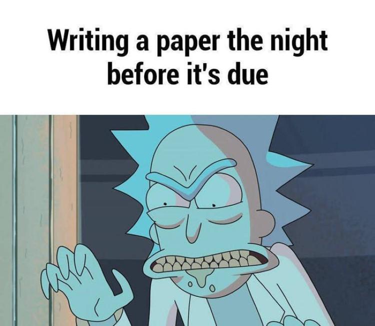 Rick writing paper meme