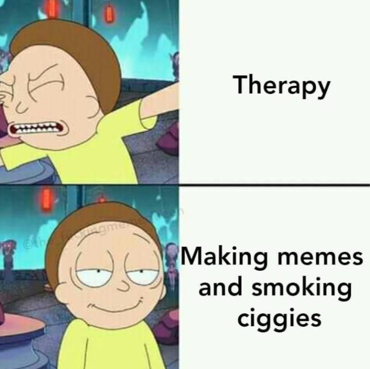 Making memes smoking ciggies meme