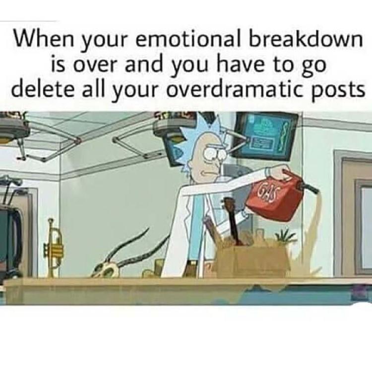 Emotional breakdown Rick joke