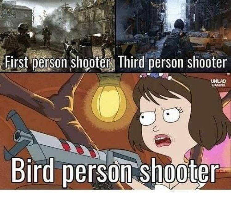 Bird person game shooter