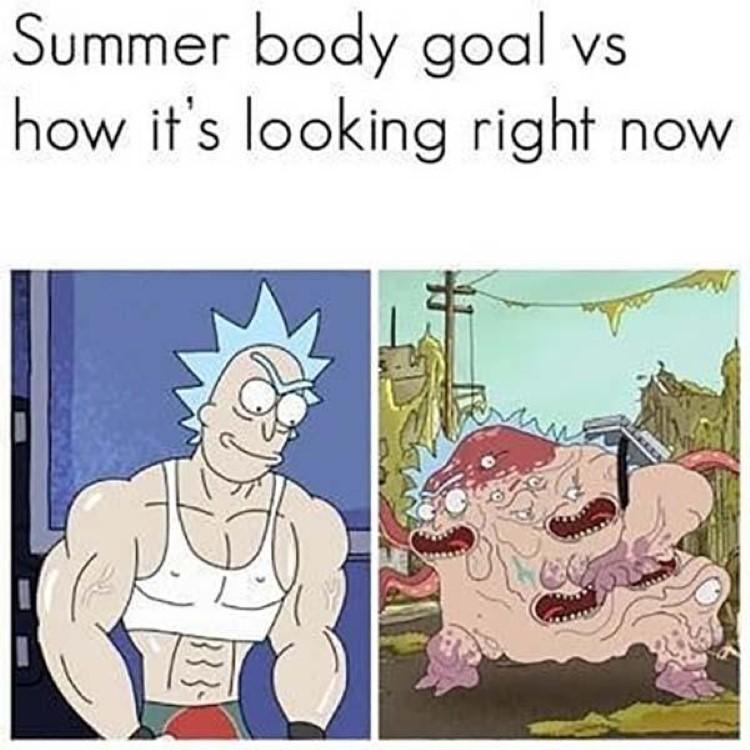 Summer body goal vs right now meme