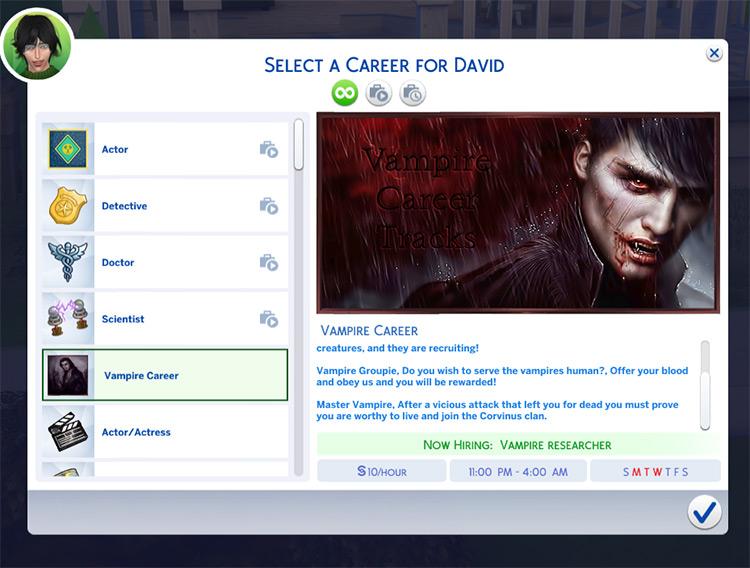 Darkside Vampire Career mod
