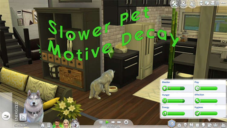 Slower Pet Motive Decay Sims4