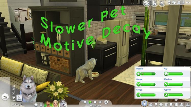 Slower Pet Motive Decay Sims4