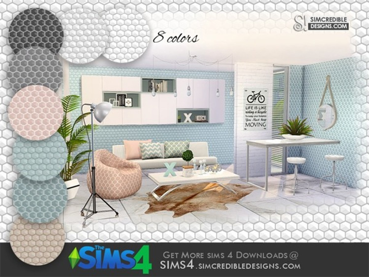 Come Cozy Honeycomb wallpaper Sims4