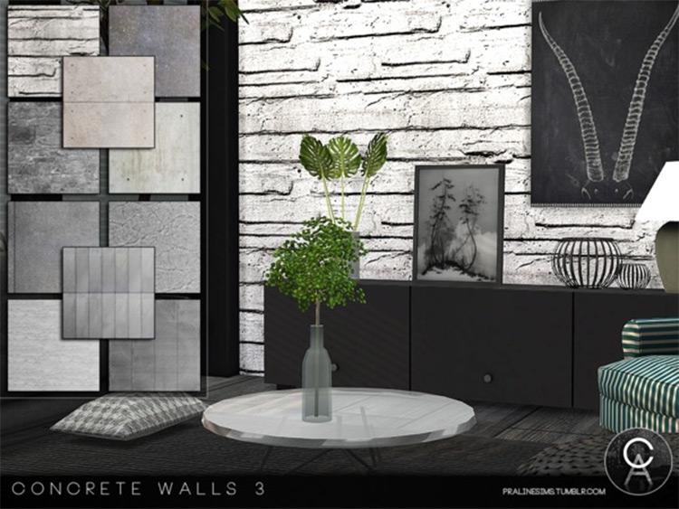 Concrete Walls Set in Sims4