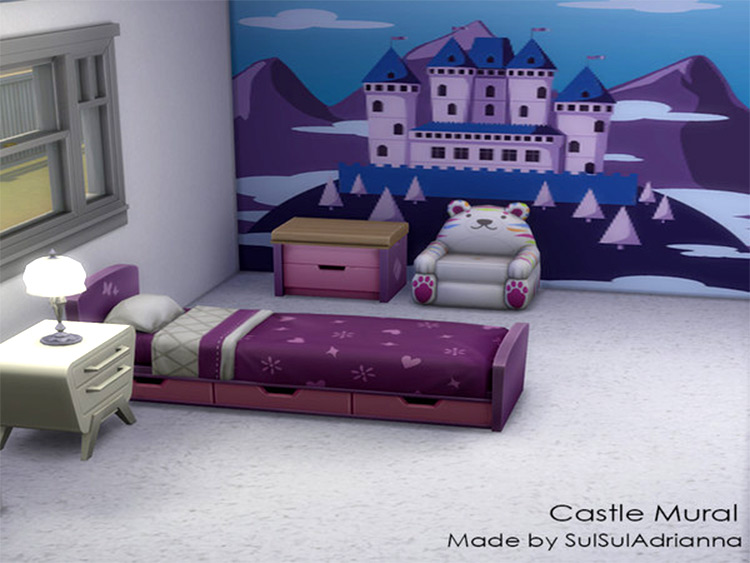 Castle Wall Mural in Sims4