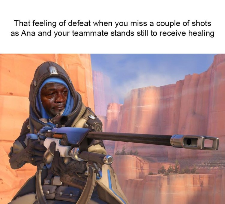 Defeat Ana teammate standing meme