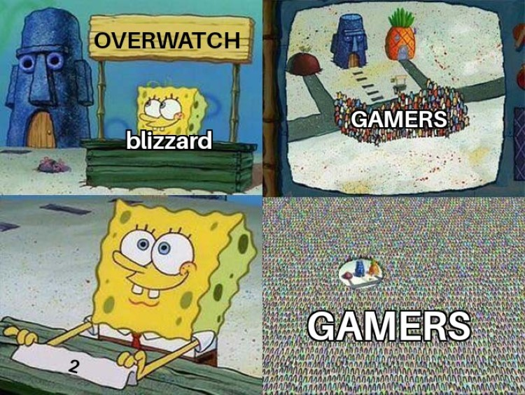 Gamers crowd around for Overwatch 2 SpongeBob crossover meme