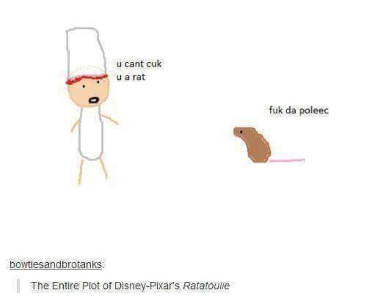 The entire plot of Ratatouille poorly drawn